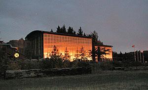 Sunrise at the Columbia Gorge Interpretive Center Museum.